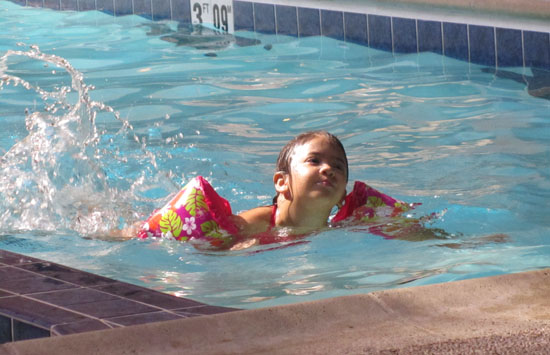 Swimming at the hotel pool in Chicago