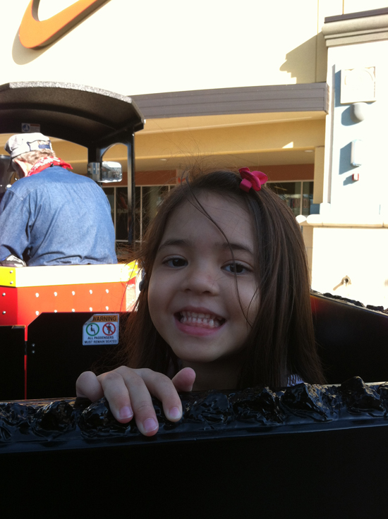 Yaya loved the train ride at the outlet mall