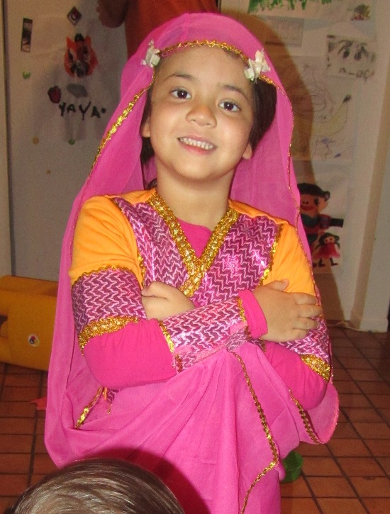 Trying on her Bollywood Princess costume