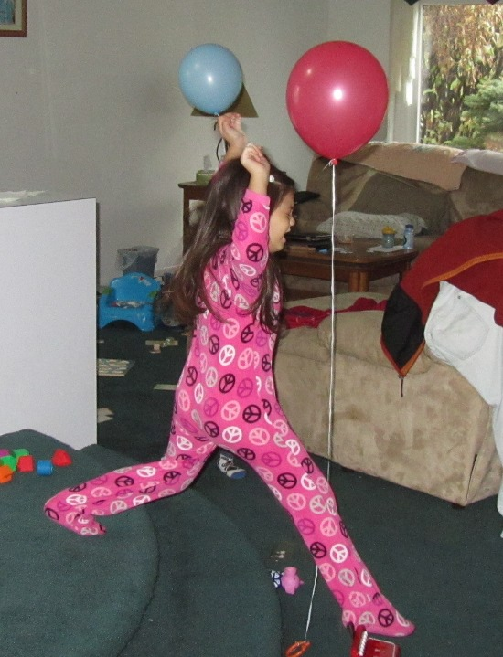 Flying karate chop of the helium balloon!