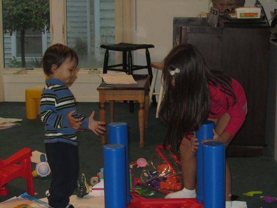 Yaya helps to put the table away even though Adik still wants to play