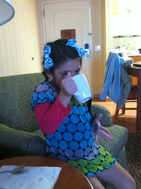 Sipping the hot chocolate