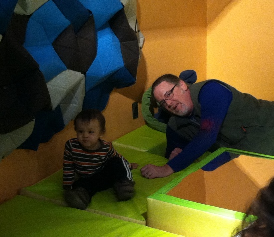Adik and Vin at the cushioned baby play area