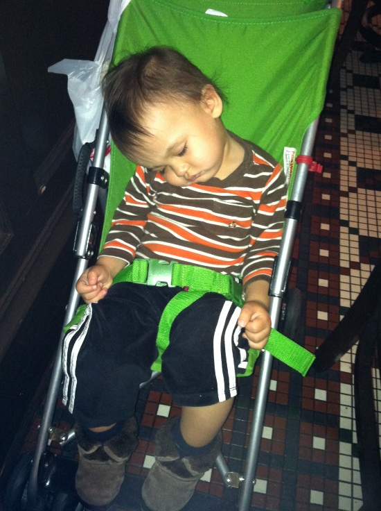 Adik napped in the stroller