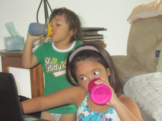 Laptop and sippy cups