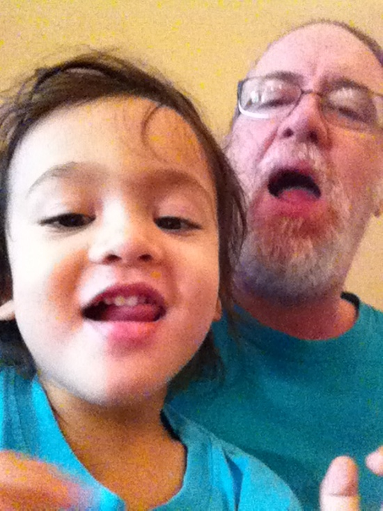 Funny face selfie with Papa