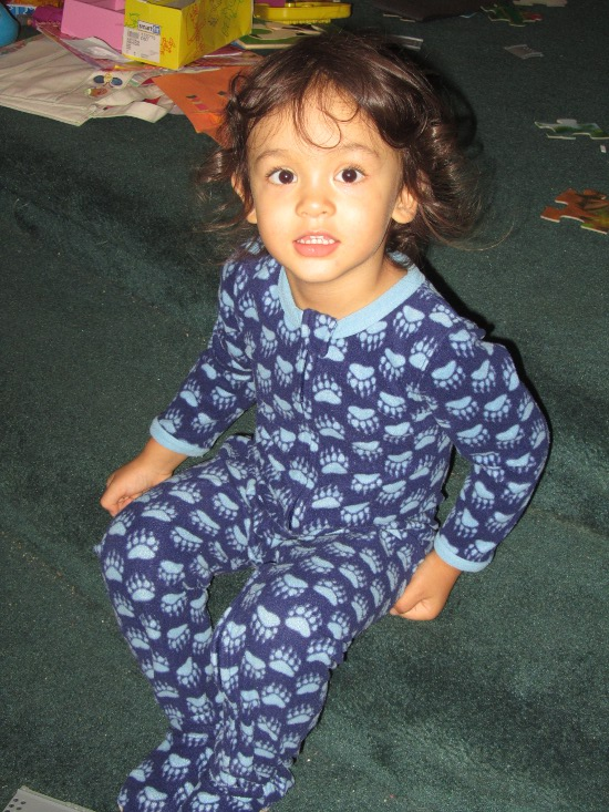 In his blue 'jamas, ready for bed
