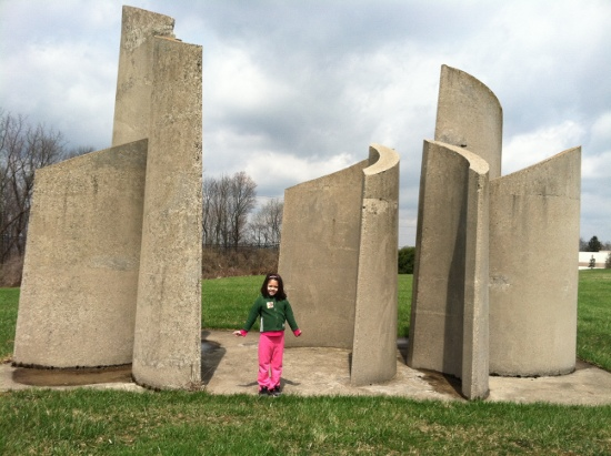 At the sculpture by Miami University Middletown