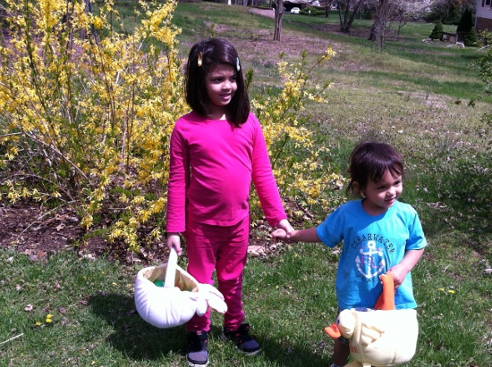 First Easter egg hunt for the kids