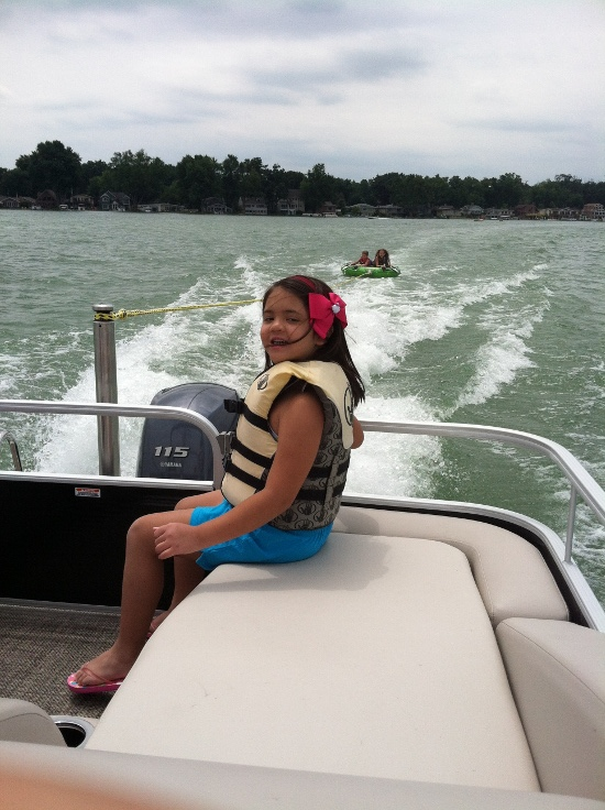 Yaya is excited about tubing