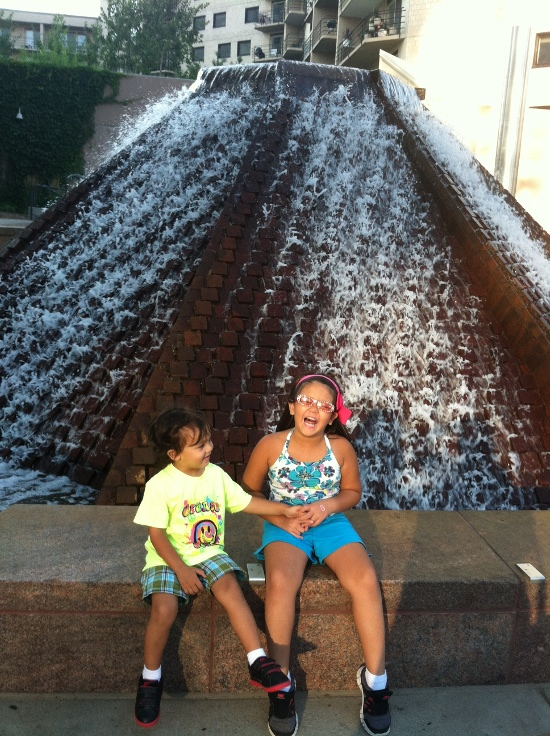 Having lots of fun at this fountain on Nicollette Mall