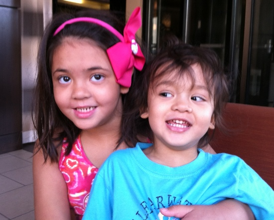 I love this photo of Yaya and Adik at the hotel lobby