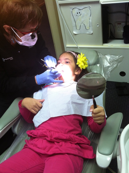 Getting her six-month dental checkup