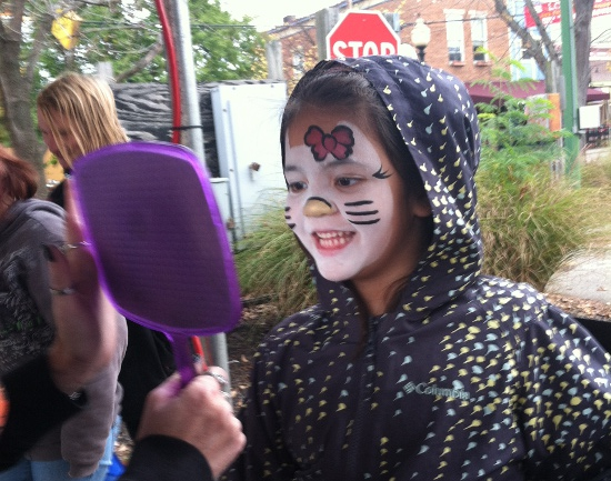 Hello Kitty face paint at the Loveland Farmer's Market