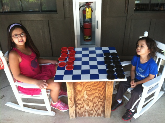 Checkers with Adik at a Cracker Barrel