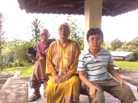 Irfan and his beloved grandparents at the gazebo. We had breakfast here the next morning