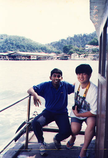 Sathya and Tsing at the back of the ferry