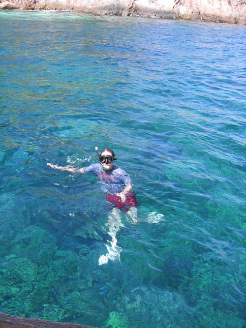 Vin snorkeling. You can see the shadows of the corals even here. The water's maybe 15-20 feet deep