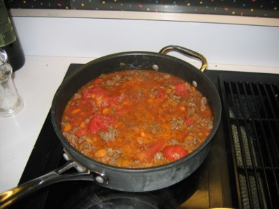 Meat mixture bubbling on the stovetop