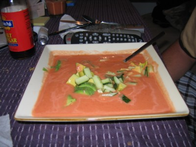 Big bowl of soup with garnish