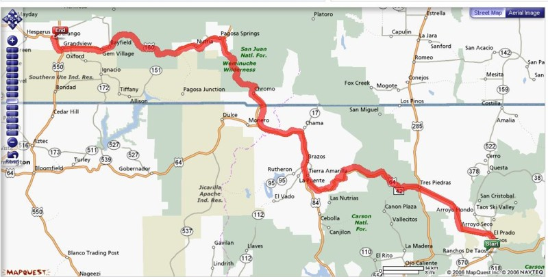 Driving directions from Taos, New Mexico to Durango, Colorado