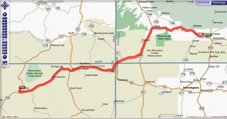 Route from Durango, Colorado to Kayenta, Arizona - note the meeting of 4 states in the middle of the map