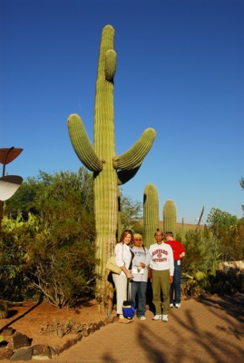 Mak, Abah and Becky by a giant saguaro