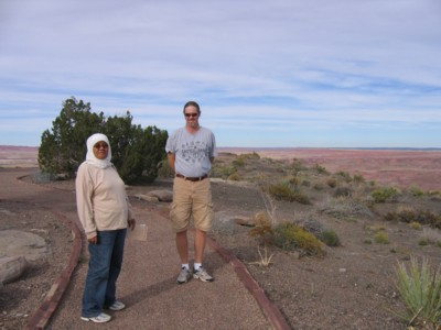 Mak and Vin wandering about the grounds of the Painted Desert Inn