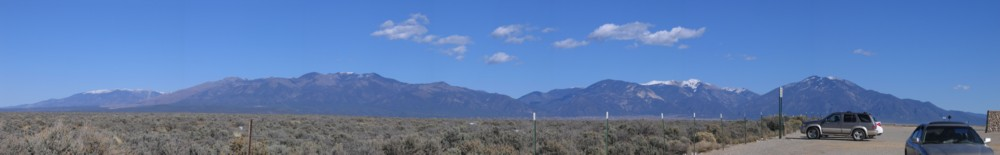 Snow capped mountains viewed from the Rio Grande Gorge