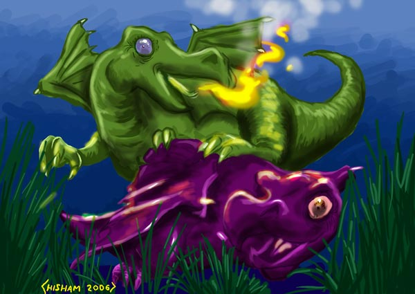 Baby dragons playing
