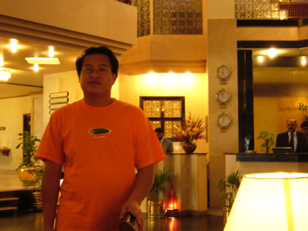 Hikam at the hotel lobby