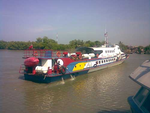 The boat leaves port