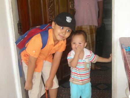 The cousins meet at the kampung