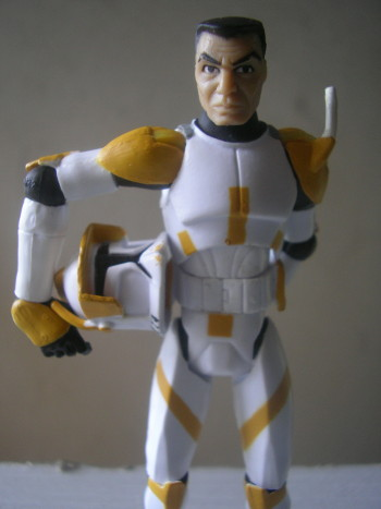 This is CC-2224, nicknamed Cody. His rank in the Grand Army of the Republic is Commander