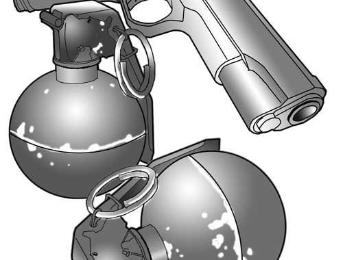 Pistol and grenades