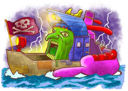 At first I thought I should draw Al Franken on a tugboat
