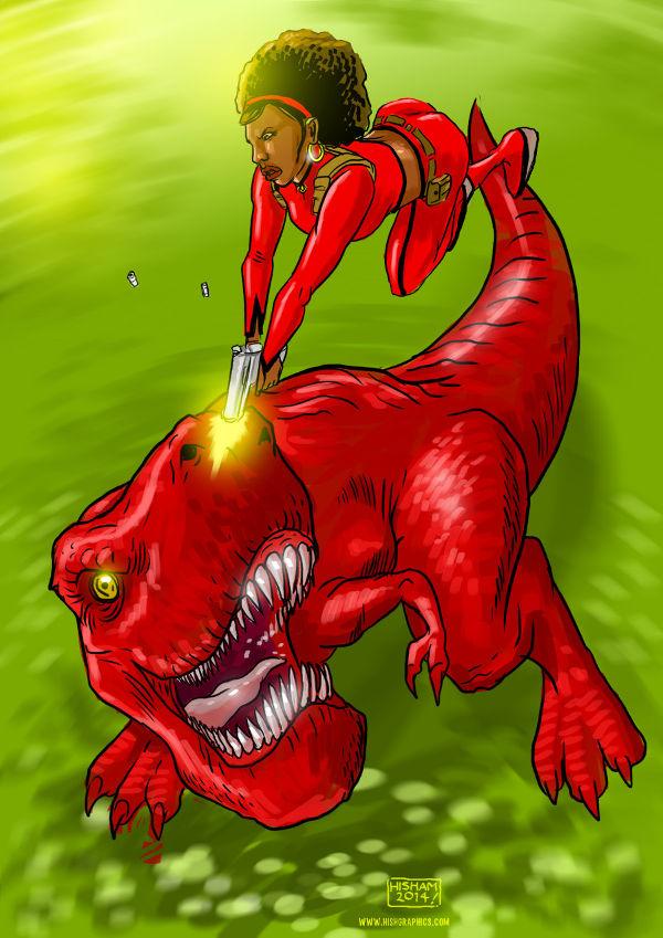 Misty Knight vs Devil Dinosaur