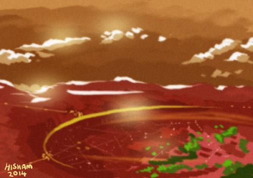 A haphazardly drawn Martian city