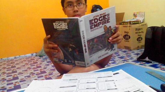 Hondo Pash reads a book