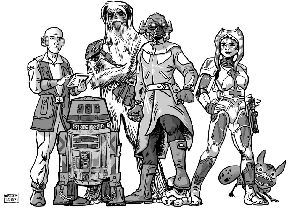Includes an R5 astromech and a Loth-cat