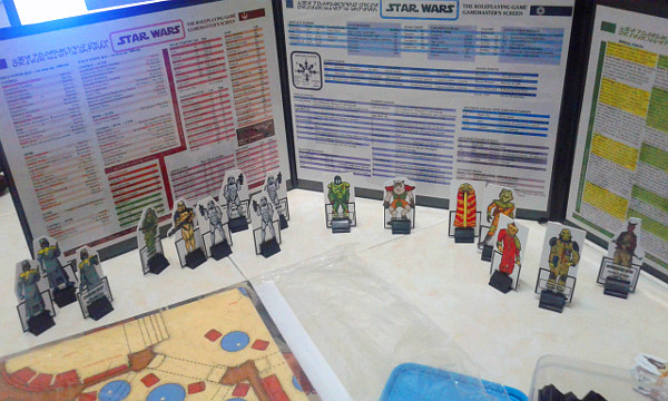 Paper miniatures standing by to be deployed. Not all were used by the end of the session