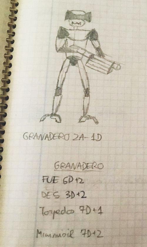 Original Grenadier droid sketch & notes