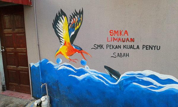 From Sabah is a painting of an aerial-naval warfare on the high seas