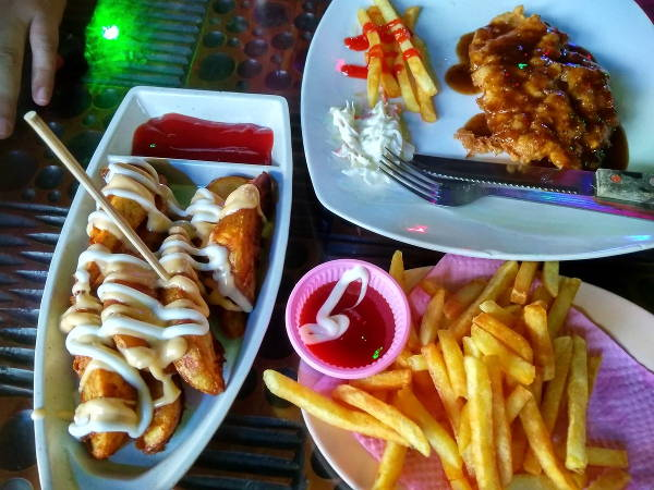 Cheese wedges and fries
