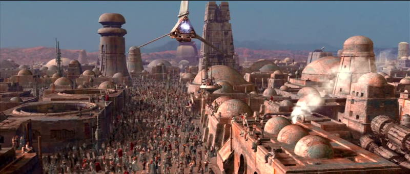Skyhopper over Mos Eisley